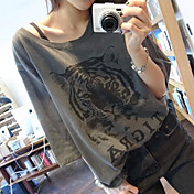 Los estudiantes coreanos femeninos de la camiseta short-sleeved del verano sueltan la cabeza del tigre la camiseta compasiva de la