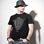 la moda de algodón de cuello redondo de la camiseta de los hombres