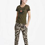 婦人向け カジュアル/普段着 夏 Tシャツ,シンプル ラウンドネック プリント グリーン コットン 半袖 ミディアム