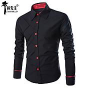 男性用 チェック カジュアル シャツ,長袖 コットン混 ブラック / レッド