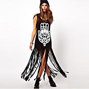 Vestidos ( Algodón )- Casual/Impresión Redondo Sin Mangas para Mujer