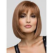 美しい若々しいボブ髪型ショートストレートモノトップキャップレスの人間の髪の毛のかつらは5色選択します