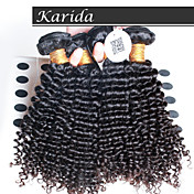 4 PC / porción brasileña profunda del pelo ondulado y rizado, reina virgen cabello humano brasileño sin procesar