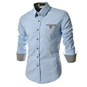 Camisa De los hombres Casual/Trabajo/Formal Cuadros Escoceses/Un Color - Mezcla de Algodón - Manga Larga