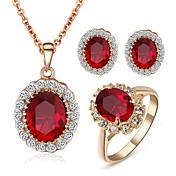 Juego de Joyas Cristal La imitación de diamante Piedras Cristal Zirconia Cúbica La imitación de diamante Legierung RojoCollares