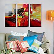 la pintura al óleo abstracta mano abstracto pintado con estirada enmarcada - juego de 3