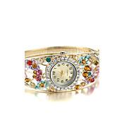 女性用 ファッションウォッチ ブレスレットウォッチ ダミー ダイアモンド 腕時計 クォーツ 模造ダイヤモンド 合金 バンド バングル エレガント腕時計 ゴールド