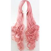 Mujer Pelucas sintéticas Hecho a Máquina Rizado Rosa Peluca de cosplay Las pelucas del traje
