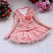 Menina de Vestido Cor Única Algodão / Poliéster / Malha Inverno / Primavera / Outono Rosa / Branco