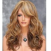 Mujer Pelucas sintéticas Sin Tapa Medio Ondulado Marrón Pelo reflectante/balayage Parte lateral Con flequillo Peluca natural Las pelucas