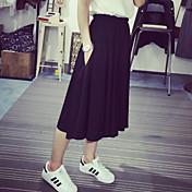 Mujer Chic de Calle Tiro Alto Microelástico Chinos Pantalones,Corte Ancho Un Color