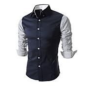 男性用 長袖 シャツ , コットン カジュアル/フォーマル ストライプ