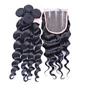 Trama del pelo con cierre Cabello Peruano Ondulado Amplio 12 meses 4 Piezas los tejidos de pelo