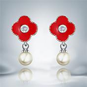 ドロップイヤリング ファッション 真珠 人造真珠 銀メッキ ブラック レッド ジュエリー のために 2 個