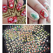 30ks 3d třpytky vánoční série nehty samolepky