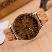 男性 リストウォッチ 腕時計 ウッド クォーツ PU バンド グレー カーキ 2 # 3 # 4 # 5 # 6 #