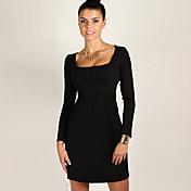 De las mujeres Línea A Vestido Casual/DiarioUn Color Escote Cuadrado Sobre la rodilla Manga Larga Rojo / Negro / Marrón Otoño