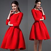 WOMEN - カジュアル - ドレス ( コットン ラウンド - 長袖