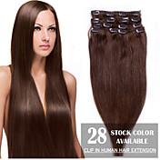 """24 """"marrón medio (# 4) 8pcs clip en extensiones de cabello humano"""