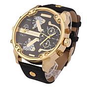男性 軍用腕時計 リストウォッチ カレンダー 2タイムゾーン クォーツ レザー バンド クール ブラック ブラウン カーキ