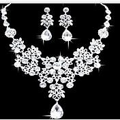 ジュエリーセット イヤリング ビブネックレス ファッション ダブルレイヤー ステートメントジュエリー イミテーションダイヤモンド ドロップ ホワイト のために パーティー 誕生日 婚約 1セット ウェディングギフト