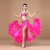 Danza del Vientre Accesorios Mujer Representación Poliéster Volantes Cinturón/Cinta 3 Piezas Sin mangas Cintura Baja Top Falda Cinturón