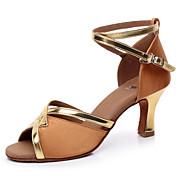 Zapatos de baile (Marrón) - Danza latina / Salsa / Samba - Personalizados - Tacón Personalizado