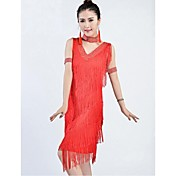 Latinské tance Šaty Dámské Výkon / Trénink Čínský nylon Střapce Jeden díl Bez rukávů Šaty 105