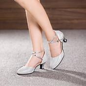 Zapatos de baile-No Personalizables-Mujer-Latino Jazz-Tacón Cubano-Cuero Charol-Gris Plata Oro Caqui