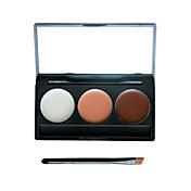 3 colores de sombra de ojos maquillaje de camuflaje corrector crema facial paleta neutra