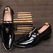 Lakovaná kůže Koženka-Pohodlné Společenské boty-Pánské-Černá Žlutá Červená-Svatba Běžné Party-Nízký podpatek