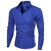 Camisa De los hombres A Cuadros Casual-Algodón / Poliéster-Manga Larga-Negro / Azul / Rojo / Blanco