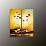 Pintada a mano Floral/BotánicoModern Dos Paneles Lienzos Pintura al óleo pintada a colgar For Decoración hogareña