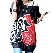 女性の夏のドレス韓国の花プリントルーズTシャツ