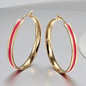 フープピアス ファッション ステンレス鋼 円形 スクリーンカラー ジュエリー のために パーティー