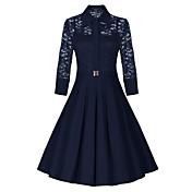 WOMEN - ビンテージ / セクシー / カジュアル / レース / パーティー - ドレス ( コットンブレンド Vネック - 五分袖