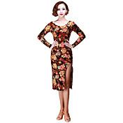 ラテンダンス ワンピース 女性用 演出 ベルベット 1個 長袖 ドレス