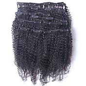 新しいブラジル人毛100%クリップインアフロ変態カーリークリップイン拡張髪に自然な黒色8個/セットを編みます