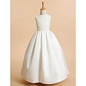 Una línea de tobillo vestido de longitud de la niña de flores - encaje de satén sin mangas joya cuello con encaje de lan ting bride®