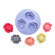 Tři otvory Flower Silikonová forma Fondant Formy Sugar Řemeslníci Nářadí květiny formy na dorty