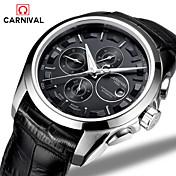 Carnival Hombre Reloj de Moda Cuerda Automática Piel Banda Negro