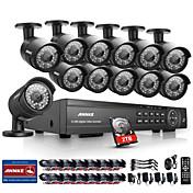 annke® 16CH sistema de cámaras de seguridad en el hogar al aire libre IR CCTV DVR 1080p con disco duro de 2 TB