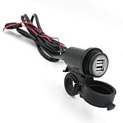 iztoss motocicleta 12v-24v adaptador de cargador de teléfono USB impermeable doble del USB 2.1a