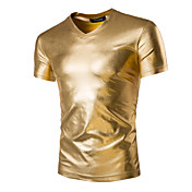 Camiseta De los hombres Un Color-Casual / Trabajo / Formal / Deporte-Algodón-Manga Corta-Negro / Oro / Plata