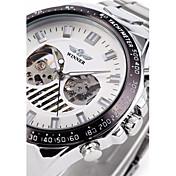 WINNER 男性 リストウォッチ 機械式時計 透かし加工 自動巻き ステンレス バンド ラグジュアリー シルバー