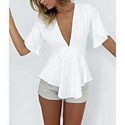 Dámské Jednoduché Běžné/Denní Pouzdro Šaty Jednobarevné,Krátký rukáv Hluboké V Nad kolena Bílá Polyester Léto Mid Rise
