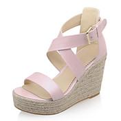 女性-ドレスシューズ-レザーレット-ウェッジヒール プラットフォーム-プラットフォームブルー ピンク ホワイト