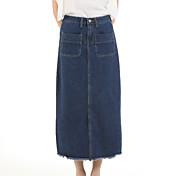婦人向け シンプル ミディ スカート,コットン 伸縮性なし