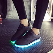 女性-アウトドア カジュアル アスレチック-レザーレット-フラットヒール-靴を点灯ブラック