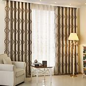 2パネル 現代風 縞柄 コーヒー キッズルーム ポリエステル 遮光カーテンドレープ